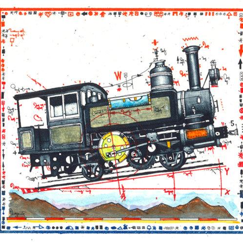 Farbradierung - Lokomotive - Berg Bahn - Leslie G. Hunt
