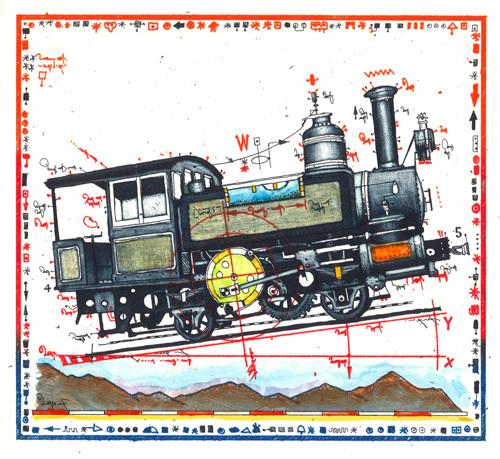 Farbradierung Berg Bahn Miniatur
