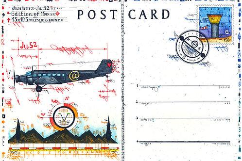 Farbradierung, post card, JU 52, flugzeug, leslieghunt, fliegerei, Junkers