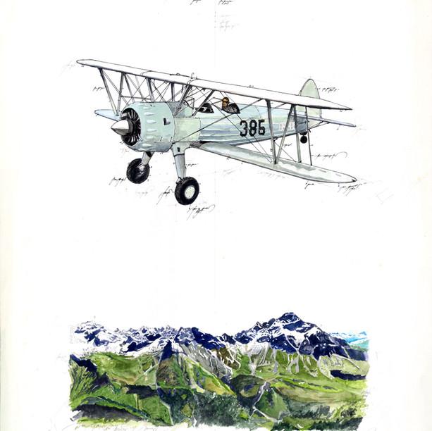 Gouache Alpen Flug