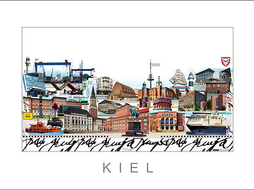 Giclée,Fine Art Print, Stadtansicht, City Print, Cityprint, Kiel, Leslie G. Hunt