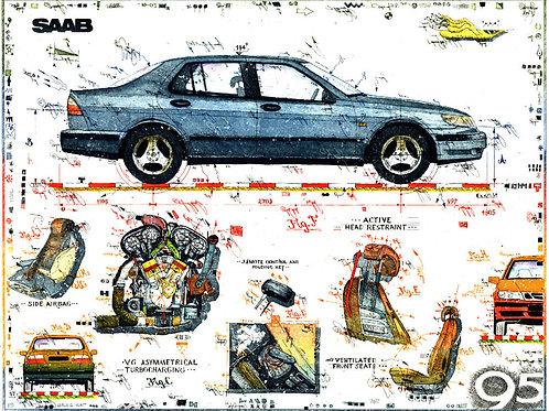 saab 9-5, saab, motor, autoschlüssel, leslieghunt, automaobil, autokunst