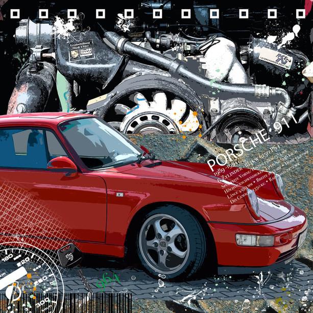 Galleryprint Porsche 911 Typ 964 Motoremotion
