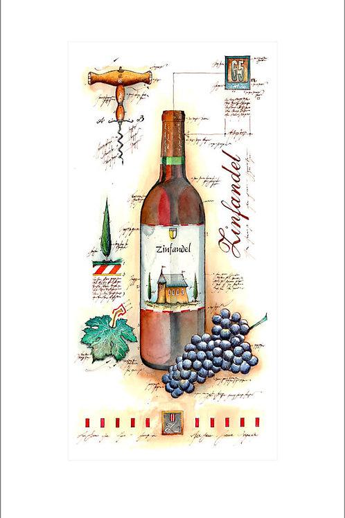 fine art print, wine panel, zinfandel, weinflasche, leslieghunt