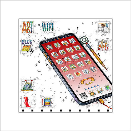 smart art, smartphone, display telefon, icons telefon, hörer, leslie g. hunt, ocr code