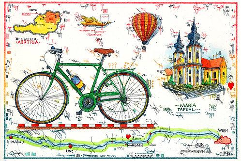 Farbradierung - Radfahren an der Donau - Österreich - Leslie G. Hunt