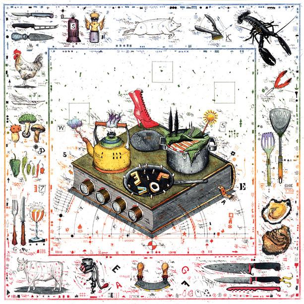 Farbradierung Das Handbuch für den Gourmet