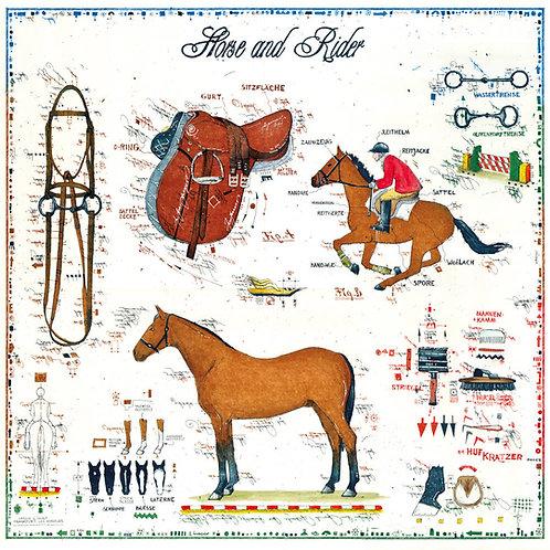 sattel, pferd, reiten, reiter, zaumzeug, horse and rider, farbradierung, leslie g. hunt