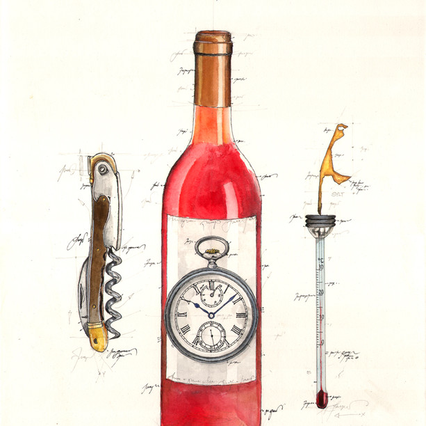 Gouache Sylter Wine Time