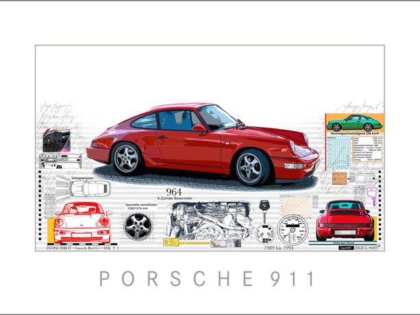 Auto Kunst-Car Art-Porsche 911-964