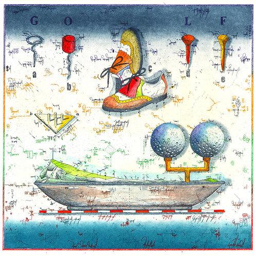 Tee for Two, Golfbild, Golfschuhe, Faiway, Golftee, variation Golftees, farbradierung, Leslie G. Hunt