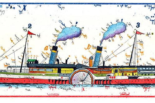 raddampfer, schiff, fahrrad, meer, leslie g. hunt, schifffahrt