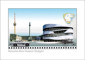 Artcard für den Verkauf im Mercedes-Benz Museum in Stuttgart