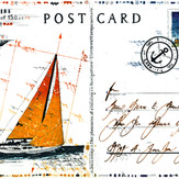 Farbradierung Sailing Postcard