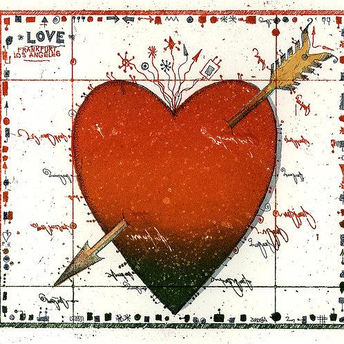 Farbradierung - Love Note Herz - Leslie G. Hunt