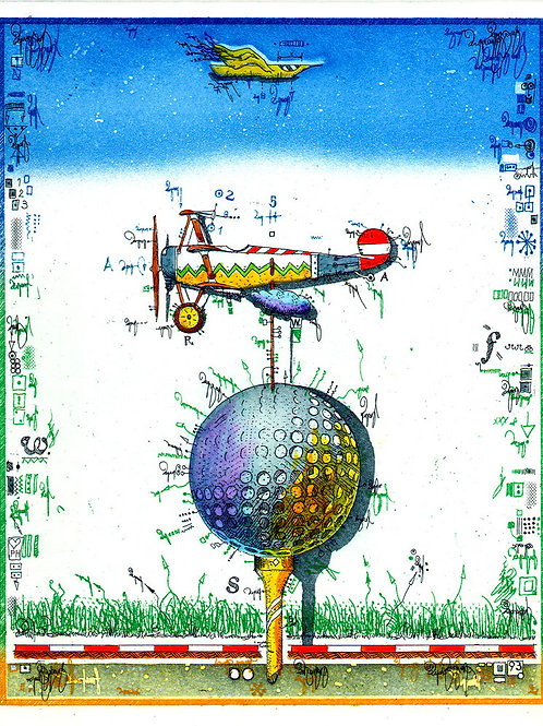 Farbradierung - Golf - Flug Ball - Leslie G. Hunt
