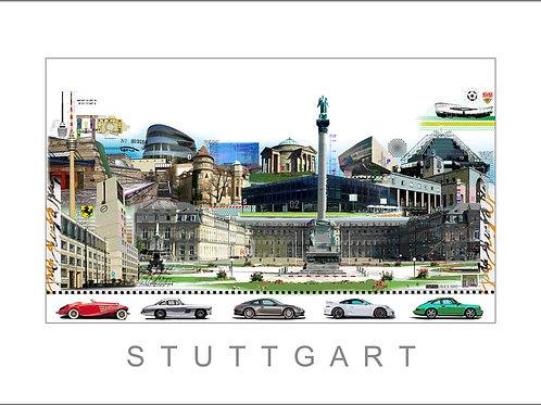 stuttgart, stadtansicht, cityprint, mercedes benz museum, porsche museum, leslie g. hunt, giclée, pigmentdruck