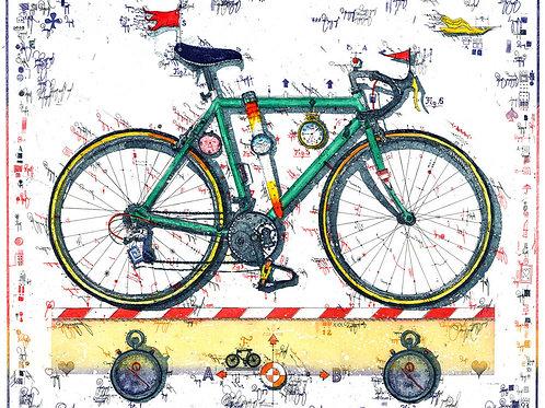 Rennrad, Fahrrad, Farbradierung, Uhrwerk, Stoppuhr, Leslie G. Hunt, Sport