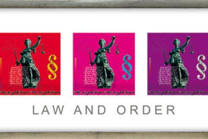 law and order, justizia, rechtsanwalt, paragraph, pigment-print, giclée-print, leslie g. hunt, modellrahmen,