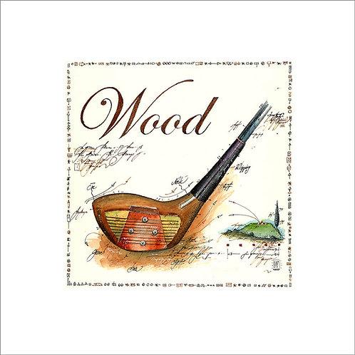 fine art print, golf, golfschlaeger, wood, leslieghunt