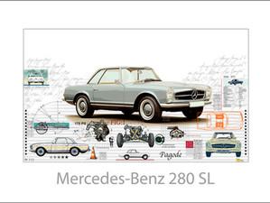 Auto Kunst-Car Art-Mercedes Benz 280 SL