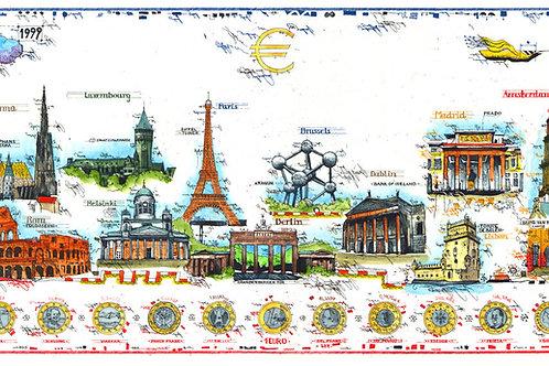 euro current cities, euro farbradierung, leslie g. hunt, euromuenzen, euro, waehrung, paris, london, bruessel, frankreich,