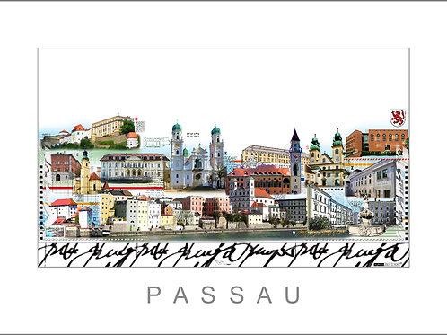 Fine Art Print, Stadtansicht, City Print, Cityprint, Passau, Leslie G. Hunt