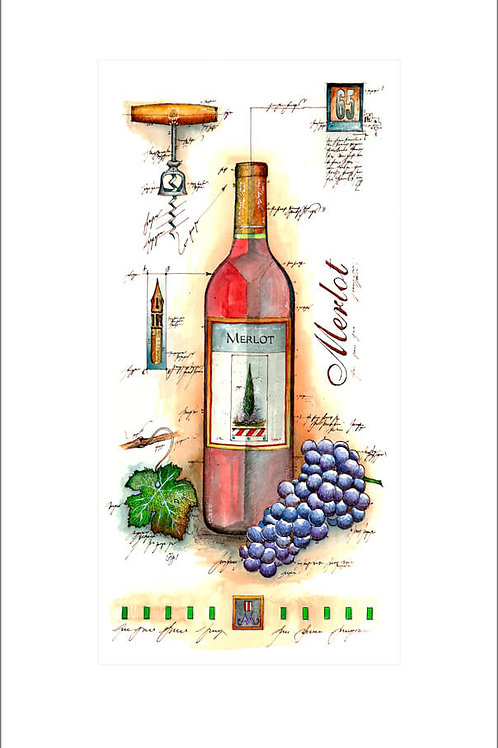 fine art print, wine panel, weinflasche, weintrauben, flaschenöffner, merlot, leslieghunt
