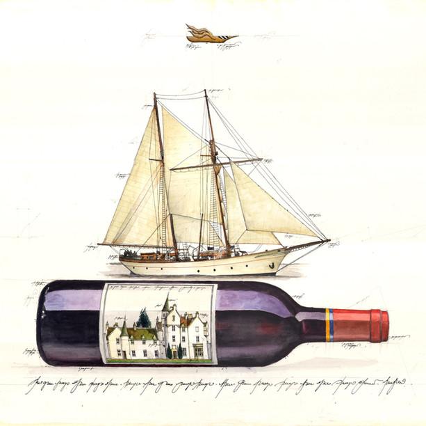 Gouache Flaschen Post