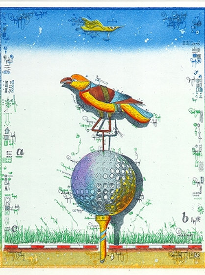 golf-farbradierung - birdie - golfball