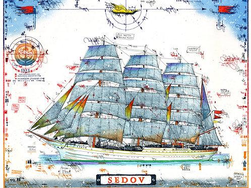 Farbradierung - Segelschiff - SEDOV - Leslie G. Hunt