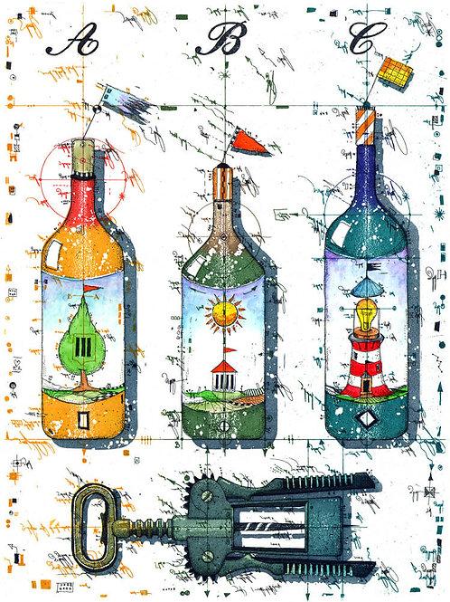Schluessel zum Paradies, Weinflaschen,  Flaschenoeffner,, Leuchtturm. Lighthouse, Wine,