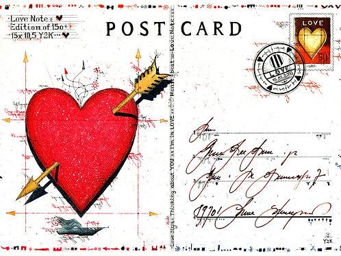 post card, postkarte, love note, herz, heart, briefmarke, stamp, farbradierung, etching, leslie g. hunt