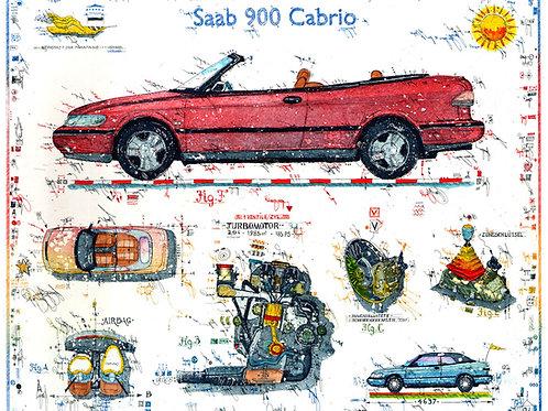 Farbradierung -Autokunst - SAAB 900 Cabrio - Leslie G. Hunt