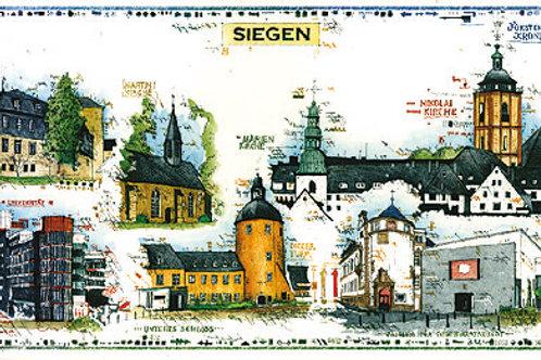 Farbradierung-Stadtansicht Siegen-Leslie G. Hunt