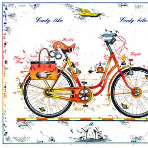 Farbradierung Lady Bike - Lady Like