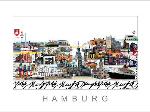 Hamburg, Cityprint, Stadtansicht, Leslie G. Hunt, Elbphilharmonie, rathaus, michel, alster