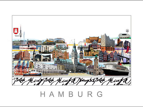 Hamburg, City Print, Stadtansicht, Leslie G. Hunt, Elbphilharmonie,