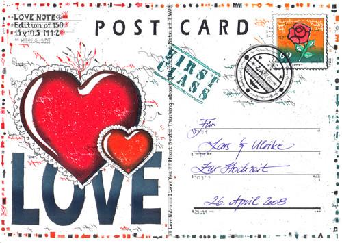 Farbradierung LoveNote Postcard 3