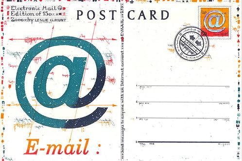 symbol @, postcard, postkarte, briefmarke, farbradierung, leslie g. hunt,