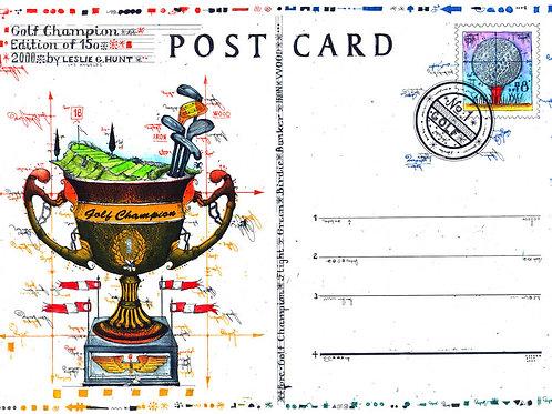 golfpokal, golfschlaeger, golfschläger, postcard, postkarte, farbardierung, leslie g. hunt, green, briefmarke