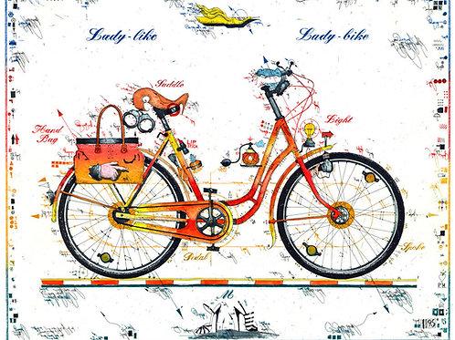 lady bike, lady like, fahrrad, damenfahrrad, tasche, high heels, Leslie G. Hunt , farbradierung