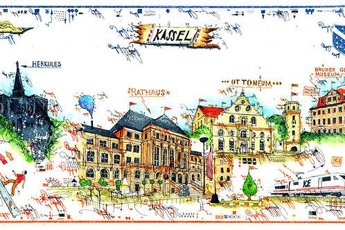 Farbradierung - Stadtansicht - Kassel - Leslie G. Hunt
