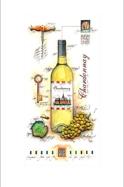 fine art print, wine panel, weinflasche, weintrauben, chardonnay, leslieghunt