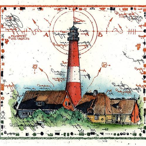 Leuchtturm, Farbradierung, Leslie G. Hunt