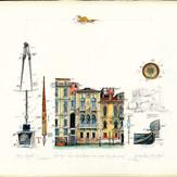 Gouache Skizzenblatt Venedig