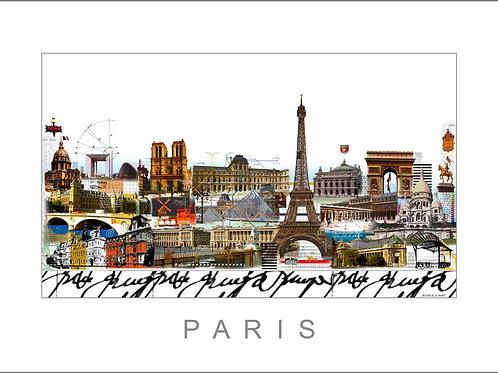 Paris, Cityprint, Stadtansicht, eiffelturm, louvre, moulin rouge, sacre coeur, arc de triomphe,