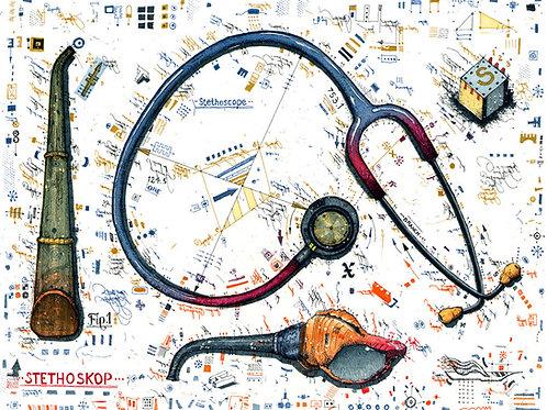 Farbradierung, Stethoskop, Ärzte Set, leslieghunt