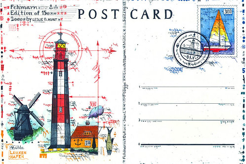 flügge, leuchtturm, lighthouse, fehmarn, stamp, briefmarke, farbradierung, leslie g.hunt