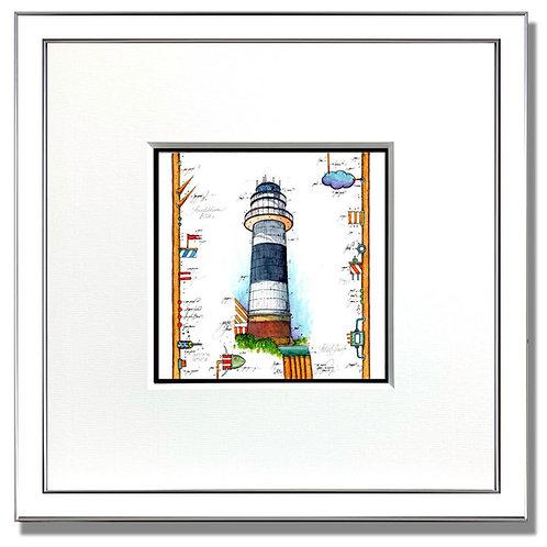 Leuchtturm Bülk, Kiel, Original Gouache,
